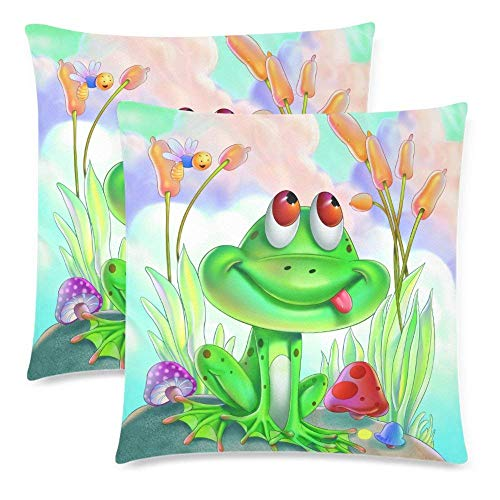 Brushed Canvas Mushroom - CHARMHOME Cute Cartoon Frog 2-Pack Satin Pillow Covers Square Sofa Couch 16x16inch Pillowcase Brushed Microfiber Bedroom Cushion, Mushroom