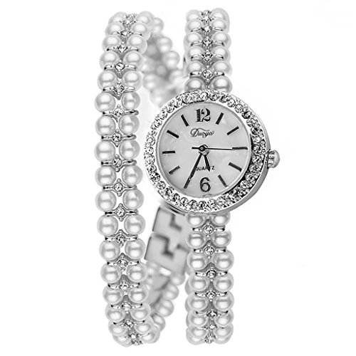 Pearl Quartz Watch - Mimgo Women Beautiful Shiny Faux Pearl Bracelet Quartz Rhinestone Wrist Watch (Silver)