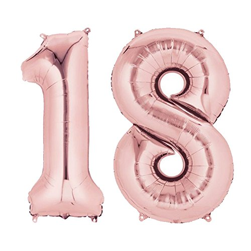40'' Rose Gold Number Balloons 18 for 18th Birthday Decorations Helium Foil Balloon Wedding Anniversary Party Supplies BA018RG