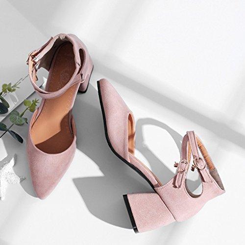 46 OALEEN Lanière Chaussures Sandales Clair Suède Escarpins Croisé Bloc Femme Rose Talon Haut 32 Pointu Bout rx0rqwAO