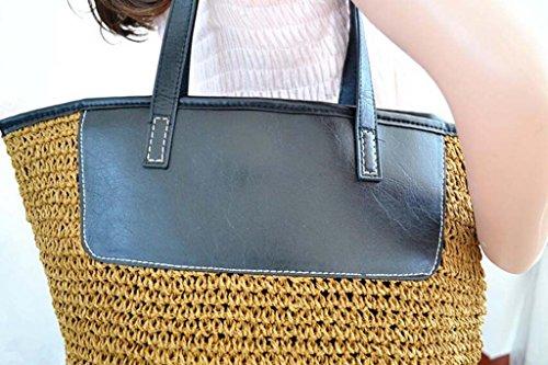 main à coréen Une Femme Hztdda Bag Vacances Straw Casual Crochet Sac Pu épaule Voyage Militarygreen marron Beach Rwxqv64xOn