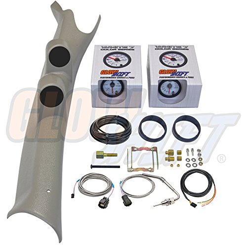 GlowShift Diesel Gauge Package for 2003-2009 Dodge Ram Cummins 1500 2500 3500 - White 7 Color 60 PSI Boost & 1500 F Pyrometer EGT Gauges - Factory Color Matched Taupe Full Size Dual Pillar Pod