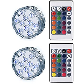 Led Underwater Lights Submersible Led Lights Underwater Waterproof Battery Operated Remote Control Wireless Multi Color 10 Led Rgb Tub Swimming Pool Special Buy