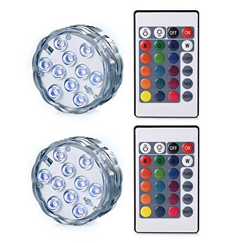 LEDGLE Submersible LED Light Battery Operated Multi Color Changing Waterproof Decorated LED Lights with Remote Control for Aquarium, Hot Tub, Vase Base, Party, Wedding (2 Pack) ()