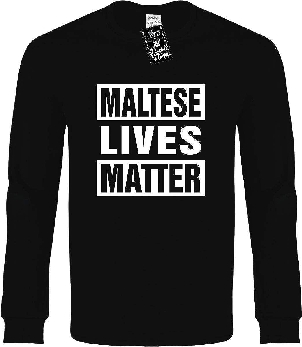 ba3f3bb12e Amazon.com: Funny Long Sleeve T-Shirt (Maltese Lives Matter (Dog ...
