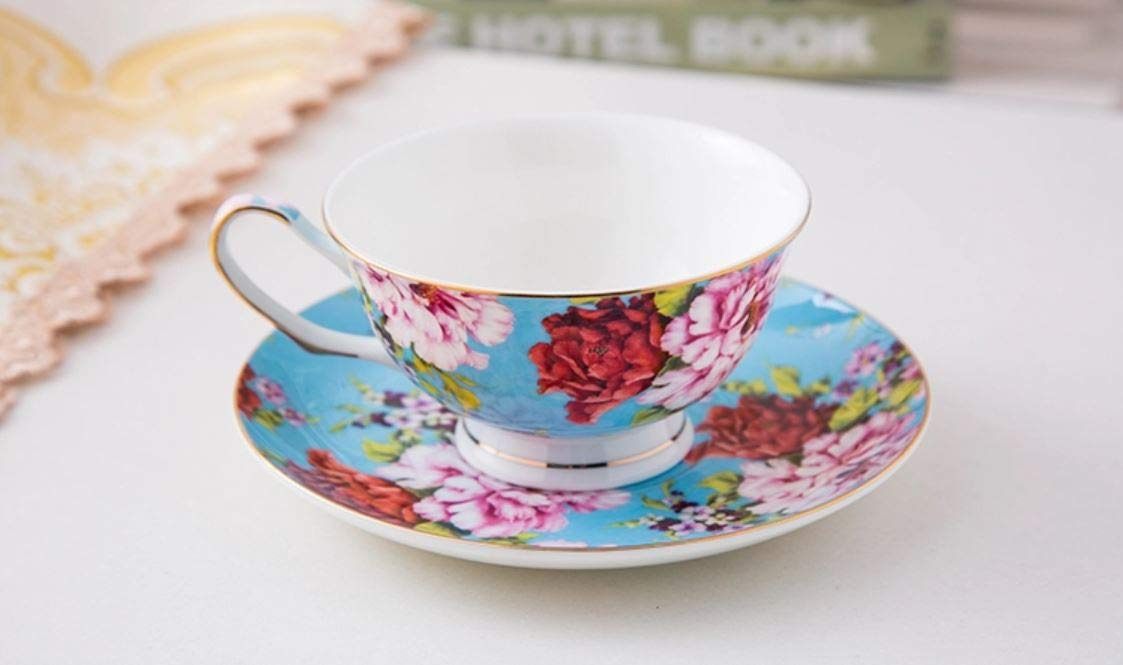 Floral Tea Cups BT/äT- Tea Cups 8oz Tea Cups for Tea Party China Tea Cups Tea Set Porcelain Tea Cups Brew to a tea Tea Cups and Saucers Set of 4 Bone China Rose Teacups Tea Set Tea Cups and Saucers Set