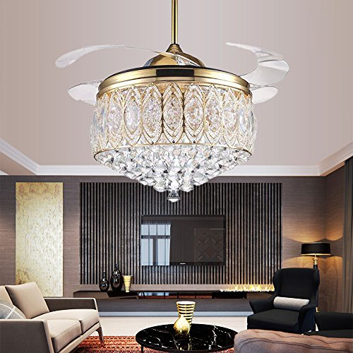 Cheap RS Lighting Simple Modern Artistic 42-Inch Crystal Ceiling Light Kit Ceiling Fan with Remote Control Retractable Blades Fan Chandelier for Living Room Bedroom Ceiling Lighting Fixture (Gold)