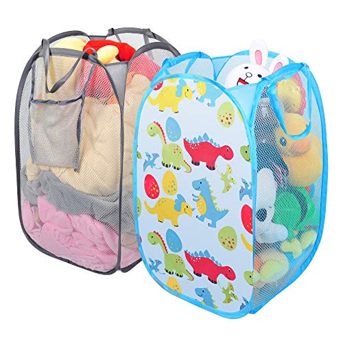 Luxamary Portable Popup Laundry Hamper-2 Packed Foldable Mesh Hamper Durable Dirty Clothes Basket with Side Pocket for Kids (Children)  ()