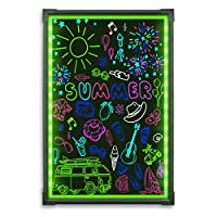LED Writing Message Board, Illuminated Erasable Neon Effect Restaurant Menu Sign with 8 Colors Markers