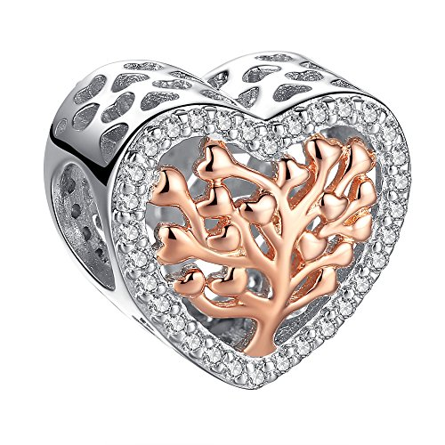 (Two Tone 925 Sterling Silver Rose Gold Plated Tree of Life Heart Shape Charms fits pandora bracelets Birthday Thanksgiving Christmas Gifts for Mom Wife Daughter Sister Her)