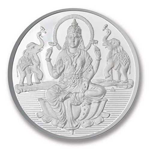 Ananth Jewels BIS Hallmarked 999 Purity Silver Coin Sitting Lakshmi & Shree 10 Grams