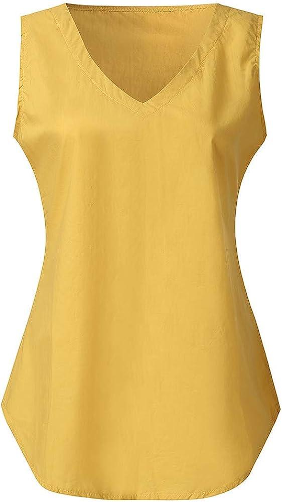 Camisetas sin Mangas de Verano para Mujer Camisas Fiesta Cuello en V botón Tirantes Camiseta Algodón Blusa Mangas con Cuello sólido Ocasional Las Mujeres la Moda Top Sin Cami Tank Tops: Amazon.es: