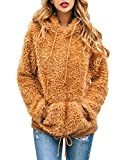 PRETTYGARDEN Women's Fashion Solid Long Sleeve Drawstring Fuzzy Loose Knitted Sweater Hoodie Sweatshirt with Pockets