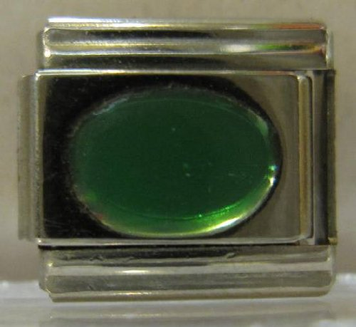 9mm Green Oval Italian Charm - Charm Stone Oval Italian