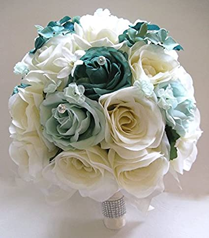 Amazon 17 pieces package wedding bouquet bridal silk flower 17 pieces package wedding bouquet bridal silk flower teal mint green cream centerpiece decoration rosesanddreams mightylinksfo Images