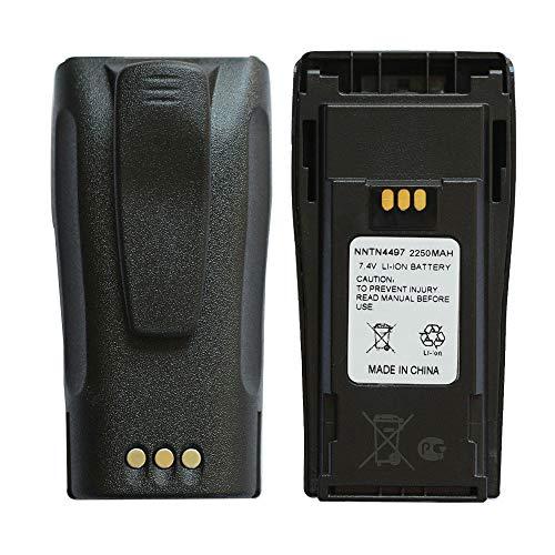 NNTN4497CR 7.2V 2250mAh Li-ion Battery High-Capacity Compatible for Motorola Radio NNTN4496 NNTN4497 CP040 CP150 CP200 CP200D CP200XLS EP450 DEP450 PR400 GP3188 GP3688 Walkie Talkies with Belt Clip