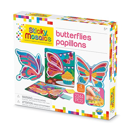 The Orb Factory Sticky Mosaics Butterflies Arts & Crafts, Yellow/Blue/Pink/Purple/Pink, 12