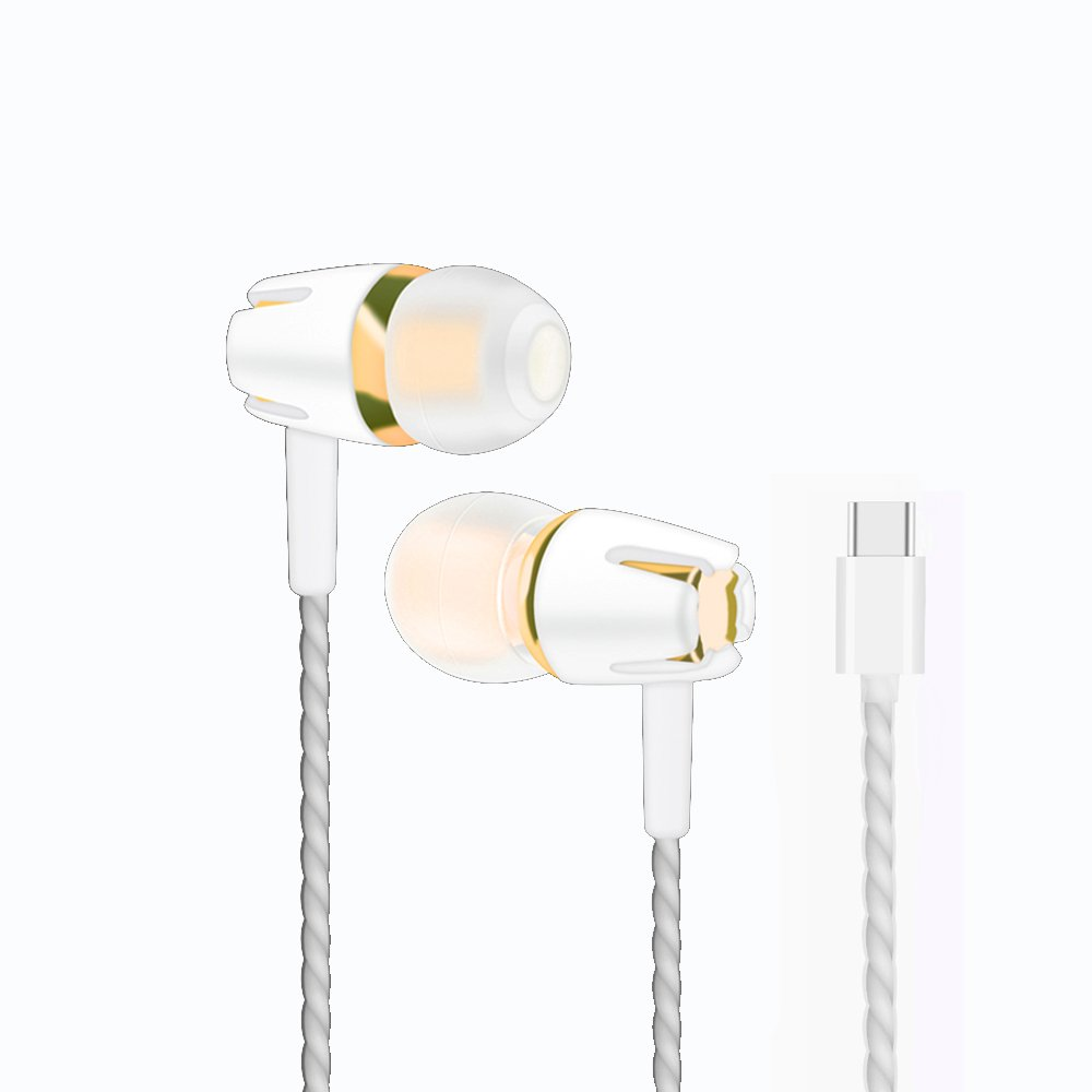 Type-C Plastic Earphone,FANTELIN Type-C Earbud Headphone Headse with Microphone Wired In-Ear Extra Bass Noise Cancelling Earphones for Huawei Samsung One-Plus (Gold)