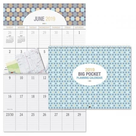 2019 Graphic Quilt Big Grid Planning Calendar- Top Quality, Spiral Binding, Large Grid Wall Calendar with Pockets