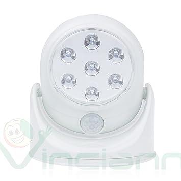 Faro foco Sensor de movimiento 7 LED de luz blanca ajustable lámpara + cargador
