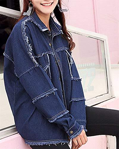 Libero Giubotto Colore Donna Outerwear Stile Elegante Modern Primaverile Semplice Outdoor Jacket Blau Giaccone Glamorous Puro Vintage Tempo Giovane Moda Autunno Lunga Manica Jeans R5v8SOqwS