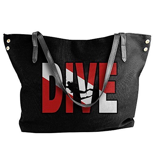 Tote Dive Flag Handbag Tote Messenger Bag Scuba Hobo Large Distressed Diving Black Vintage Women's Canvas Shoulder Iq01w086