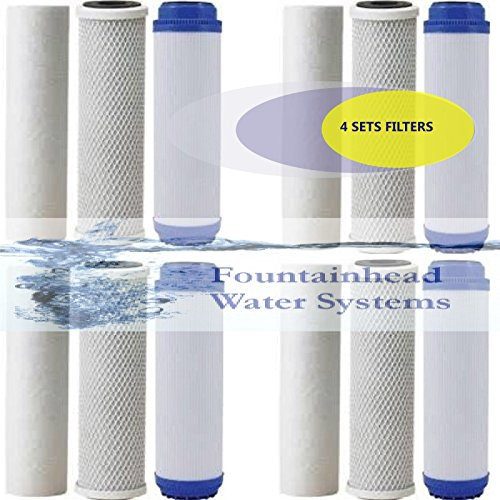 FOUNTAINHEAD 12 PIECE 3 STAGE WATER FILTERS SEDIMENT/GAC/CARBON BLOCK FILTERS by Fountainhead Water System