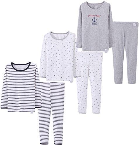 Boys 3 Sets (6pcs) Cotton Longs sleeve Undershirts Autumn Winter Thermal Underwear Pants Suit 4-12T (Grey/White/Stripe, 5-6 Years) (Winter Undershirt)