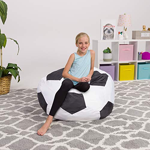 Posh Beanbags BLG-GZ120 Bean Bag Chair, Large-38in, Sports Soccer Ball Black and White