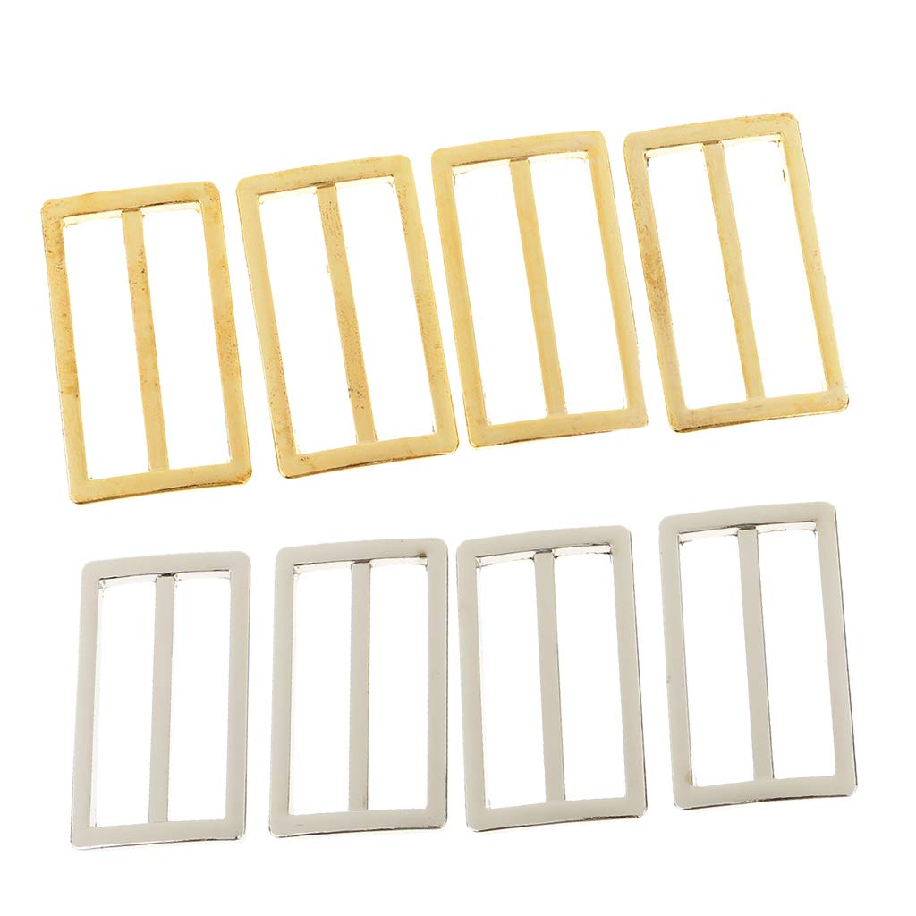 P Prettyia 8Pcs Silver Gold Metal Tri-Glide Slider Adjustable Buckle for Bags Webbing Belt Backpack and Bags Straps