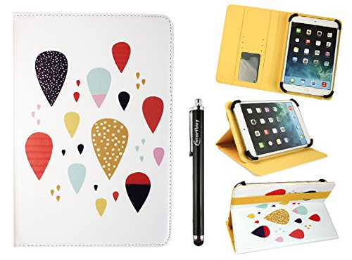 Price comparison product image Emartbuy Universal 7-8 Inch Coloured Drops Multi Angle Folio Wallet Case Cover With Card Slots Yellow Elastic Strap and Stylus Pen Suitable for Selected Devices Listed Below