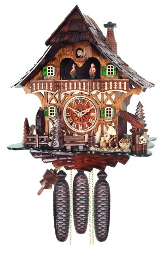 River City Clocks Eight Day Musical Cuckoo Clock Cottage with Woodchopper and Waterwheel