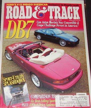(Road & Track Magazine March 1996 Aston Martin DB7 (Single Issue Magazine))