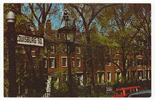Famous Louisburg Square on Historic Beacon Hill, Boston, Massachusetts Vintage Original Postcard #2712 - 1960's
