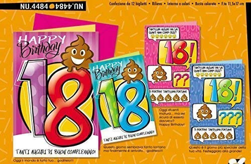 Tarjeta Saludos Cumpleaños 18 AÑOS Emoticon Cacca Caca 1 A ...