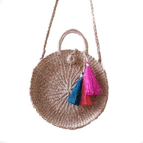 Round Tassel and Handbag w Abaca Sling Colorful Handwoven 0zPq5xx