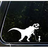 "Pet Dinosaur - Tyrannosaurus w Boy or Girl- Car | Truck | ATV - Vinyl Decal Sticker - © 2016 Yadda-Yadda Design Co. (8""w x 4.25""h) (GIRL - Face Right, WHITE)"
