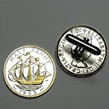 British Sailing ship - 2 Toned(Uniquely Hand Done) Gold & Silver coin cufflinks for men - men's jewelry men's accessories for him groomsmen