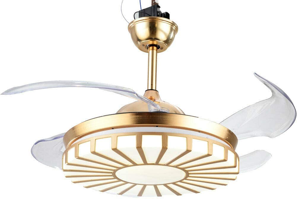 """Ceiling Fan Light, Modern 42"""" Ceiling Fan Light Retractable LED Chandelier 3 Color with Remote Control for Bedroom Living Room Hotel US"""