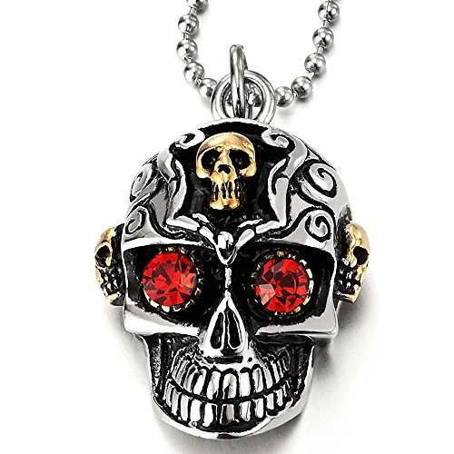 Silver Skull Locket Necklace - 4