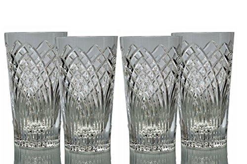 GAC Mouth Blown Set of 4 Crystal Highball Glasses, Heavy Base Glass Tumbler Set - 14oz Beverage Glasses and Drinking Glasses Set - Stunning Hand Cut Design - 100% Brilliant Crystal Glasses