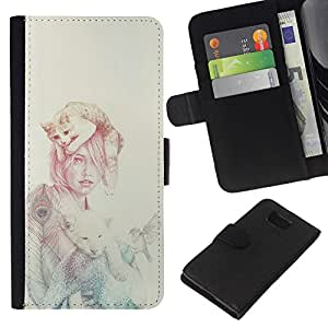 KLONGSHOP // Tirón de la caja Cartera de cuero con ranuras para tarjetas - Mujer Gato - Samsung ALPHA G850 //