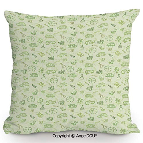 AngelDOU Fashion Sofa Cotton Linen Throw Pillow Cushion, Cartoon Doodle Drawing Style Funny Infant Toys Balls Cars Teddy Bears Crayons Pattern,Bed Office car Pillow Customized accept13.7x13.7 inches