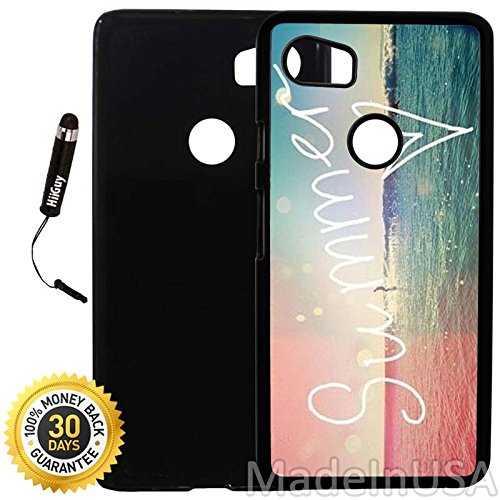 Custom Google Pixel 2XL Case (Hipster VIntage Summer) Plastic Black Cover Ultra Slim | Lightweight | Includes Stylus Pen by Innosub Custom Plastic Cases