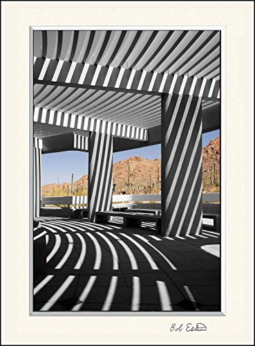 11 x 14 inch mat including a wall art photograph of striped shadows in this desert landscape at the Saguaro National Park with cactus and mountains, Tucson Arizona. Sonoran Desert Saguaro National Park