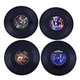 Vinyl Record Coasters, 4pcs Retro Vinyl CD Record Coasters Cup Drinks Holder Mat Tableware Placemat Table Protection Decoration