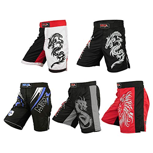 horts UFC Cage BJJ Fighting Sports Trunk Active Boxing Kickboxing Muay Thai Grappling (Black - X-Large) ()