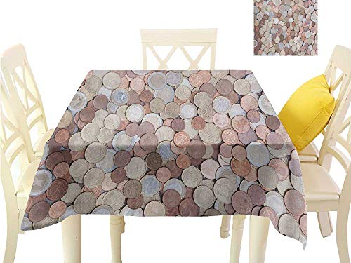 Angoueleven Square Table Cover Money,Close Up Photo of Coins European Union Euros Cents on Rustic Wooden Board,Bronze Silver Yellow BBQ Tablecloth W 54