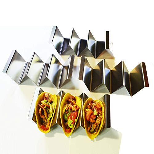 Taco Holder Stainless Steel, 4 Pack, Taco Stand Up Holder, Taco Holders, Hold 2-3 tacos, Oven, Dishwasher and Grill Safe Dishwasher Safe Stainless Steel Grill