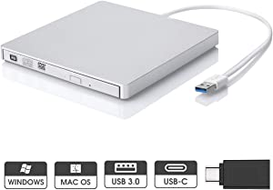 ROOFULL External CD DVD Drive USB 3.0 Type-C Portable DVD/CD ROM +/-RW Drive Burner Writer Optical Player for MacBook Air, MacBook Pro, Windows/Linux/Mac OS Laptop PC, Silvery